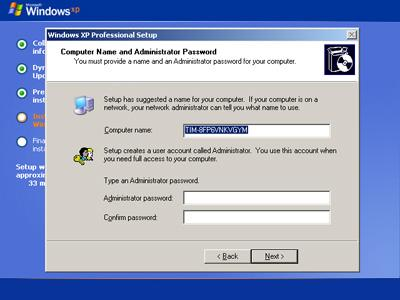 Computer Name and Administrator Password