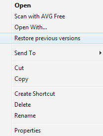 vista - restore point - shadow copy